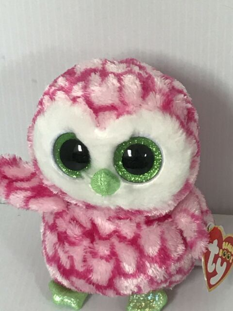 TY BUBBLY PINK OWL BEANIE BOOS**CLAIRES**-NEW MINT TAG*HARD TO FIND*SO PRETTY*