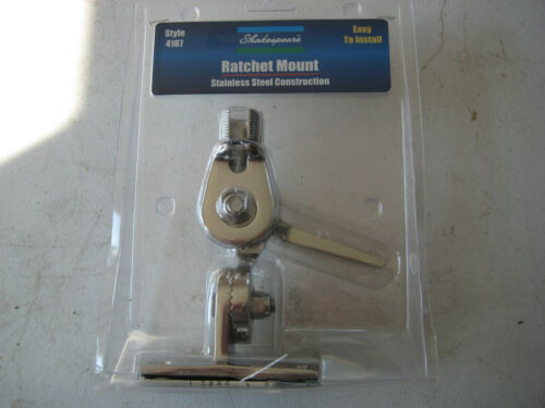 Shakespeare 4187 Stainless Steel Ratchet Mount VHF Antenna Base New Lay Down