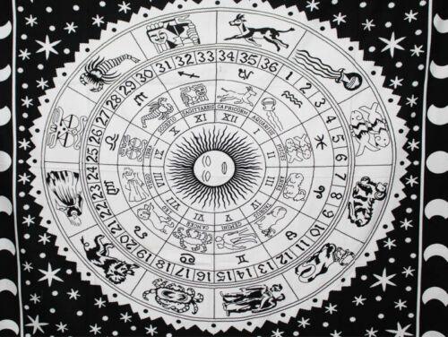 Zodiac Astrology Hippie Mandala Art Tapestry Dorm Wall Hanging Bedspread Cotton