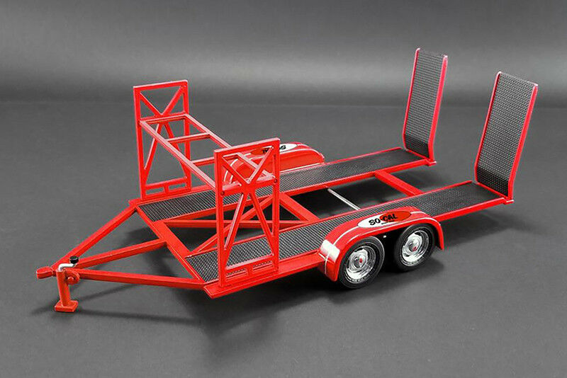 So-Cal Speed Shop Tandem Car Trailer (1 18 scale diecast model, Red)