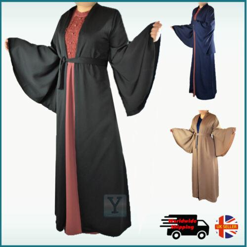 Bell Manica Kimono Aperto Abaya Nida tessuto Dubai Hijab Caftano Cardigan ABITO LUNGO