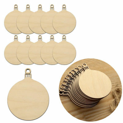 9cm Round Xmas Wooden MDF Craft Blanks Christmas Gift Tags 10 x BAUBLES