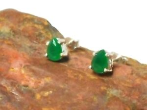 Green-EMERALD-Sterling-Silver-925-Gemstone-Stud-Earrings-5-x-7-mm
