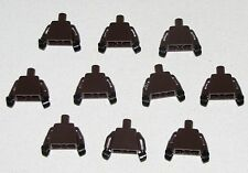LEGO LOT OF 10 NEW SOLID DARK BROWN MINIFIGURE TORSOS WITH BLACK HANDS PARTS