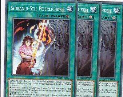 YuGiOh 3x Shiranui-Stil-Feierlichkeit SAST-DE064 COMMON TCG AtzenJens