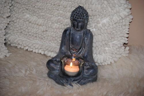 Buddha Grau mit FENG SHUI STATUE  Budda Figur mit Teelichthalter Glas