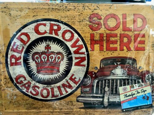 NEW RED CROWN GASOLINE  METAL SIGN  RED CAR 12X17