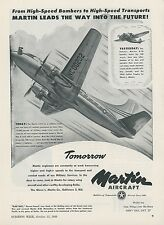 1948 Martin Aircraft Ad 2-0-2 Airliner as Military Transport Cargo Plane