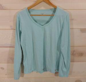 Horny-Toad-Women-039-s-Sz-L-Mint-Green-V-neck-Top-Long-Sleeve-Shirt-Organic-Cotton