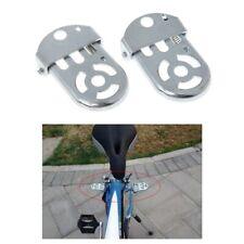 Bicycle Pedal Rear Seat Iron Folding Thickened Bike Cycling Flat Platform Silver