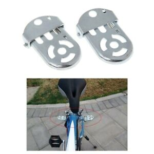 Bicycle-Pedal-Rear-Seat-Iron-Folding-Thickened-Bike-Cycling-Flat-Platform-Silver