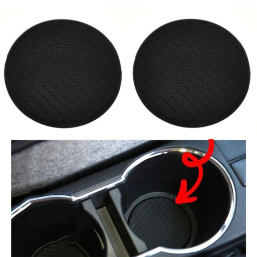 2Pcs Car Auto Water Cup Mat Non-Slip Black Carbon Fiber Look Silicone Mat