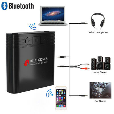 2in1 Bluetooth Ricevitore Audio Wireless Receiver Adattatore 3,5mm Stereo Cavo Aux-