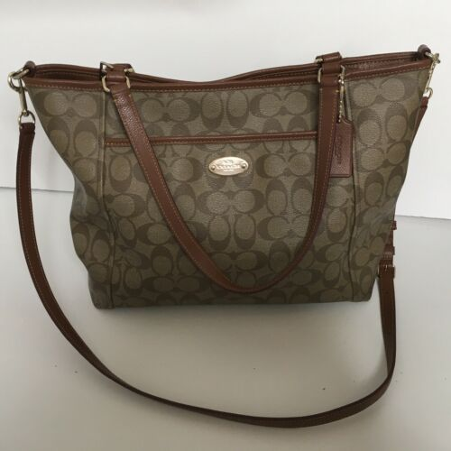 Coach Brown Peyton Leather Signature Coated Canvas