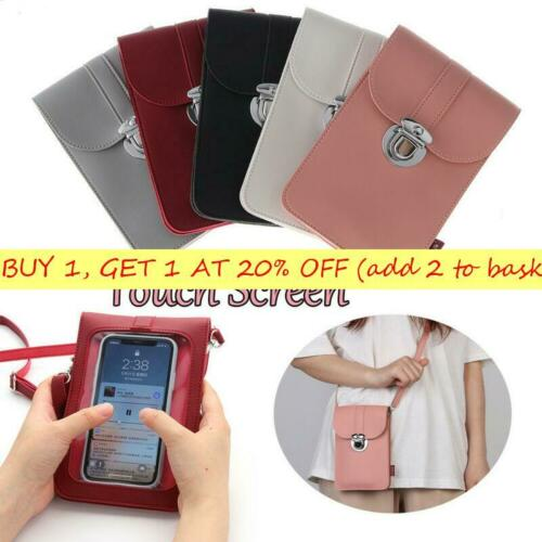 Women Retro Buckle PU Touch Screen Convenient Crossbody Mobile Phone Bag