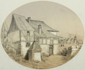 A.FUCHS(19.Jh), Pittoreskes, verwinkeltes Fachwerkhaus, 1863, Bleistiftzchng