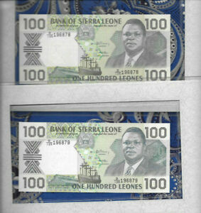 Most-Treasured-Banknote-Sierra-Leone-100-Leones-1990-P18c-UNC-Consecutive-Fancy
