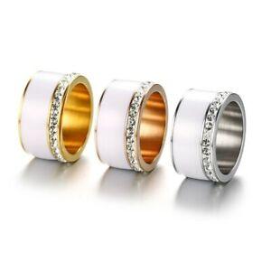 EDELSTAHL Ring STRASS silber rose gold Keramik Fingerring weiß DELUXE + AUSWAHL