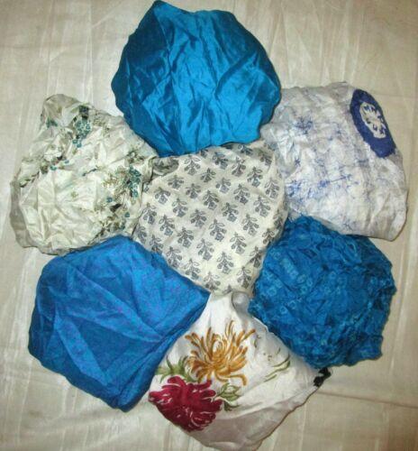 aelk environ 0.30 m bleu blanc-cassé # Lot Pure Soie Vintage Sari Remnant Tissu 7 pcs 1 ft