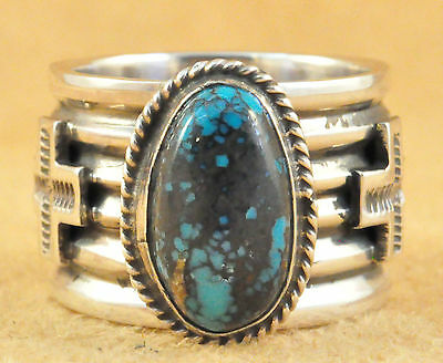 Navajo Sterling Silver Natural Tibetan Turquoise Size 10.75 Ring By Andy Cadman