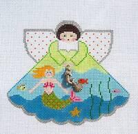 Mermaid Angel W/ Charm Handpainted Needlepoint Ornament Painted Pony