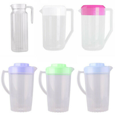 Plastic Ribbed Water Juice Iced Tea Covered Pitcher Jug Container W Lid Handle Ebay