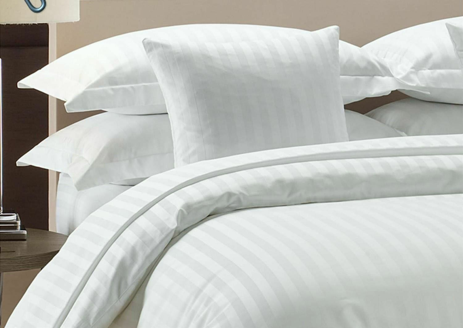 Duvet Set + Fitted Sheet bianca Stripe All Dimensiones 1000 Thread Count Egypt Cotton