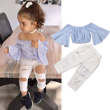 770021a5131b3 Clothing & Accessories Pant Set Outfit Baby Girls Toddler Girl Stripe Off-shouler  Tube Top
