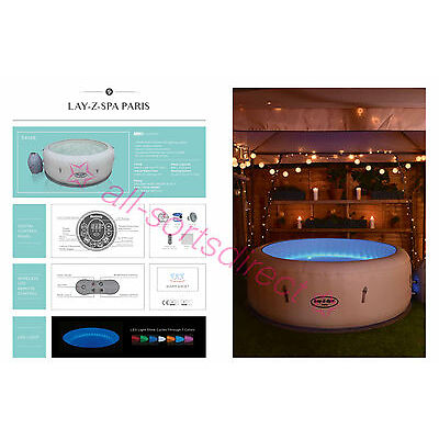 2017 Lay Z Spa Paris Airjet 4-6 Person Inflatable Hot Tub Multicolour LED Lights
