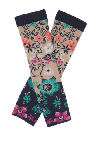 grau beige marin IVKO Merino Handstulpen Handschuhe Pullwarmers Floral Pattern