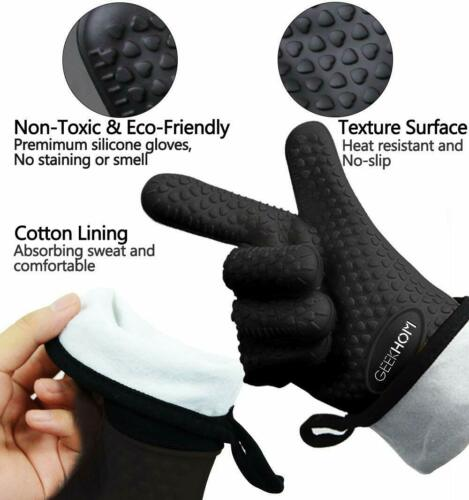 GEEKHOM Oven Gloves Heat Resistant BBQ Gloves Silicone Oven Mitts Waterproof Ki