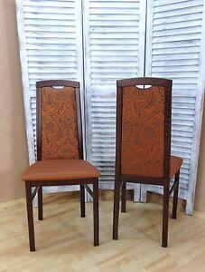 Details zu 2er Set Stühle massivholz nußbaum terracotta Esszimmer Küche  modern design Stuhl