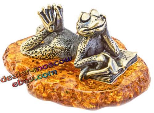 Bronze Brass Baltic Amber Figurine Frog on the Beach IronWork Miniature 1770