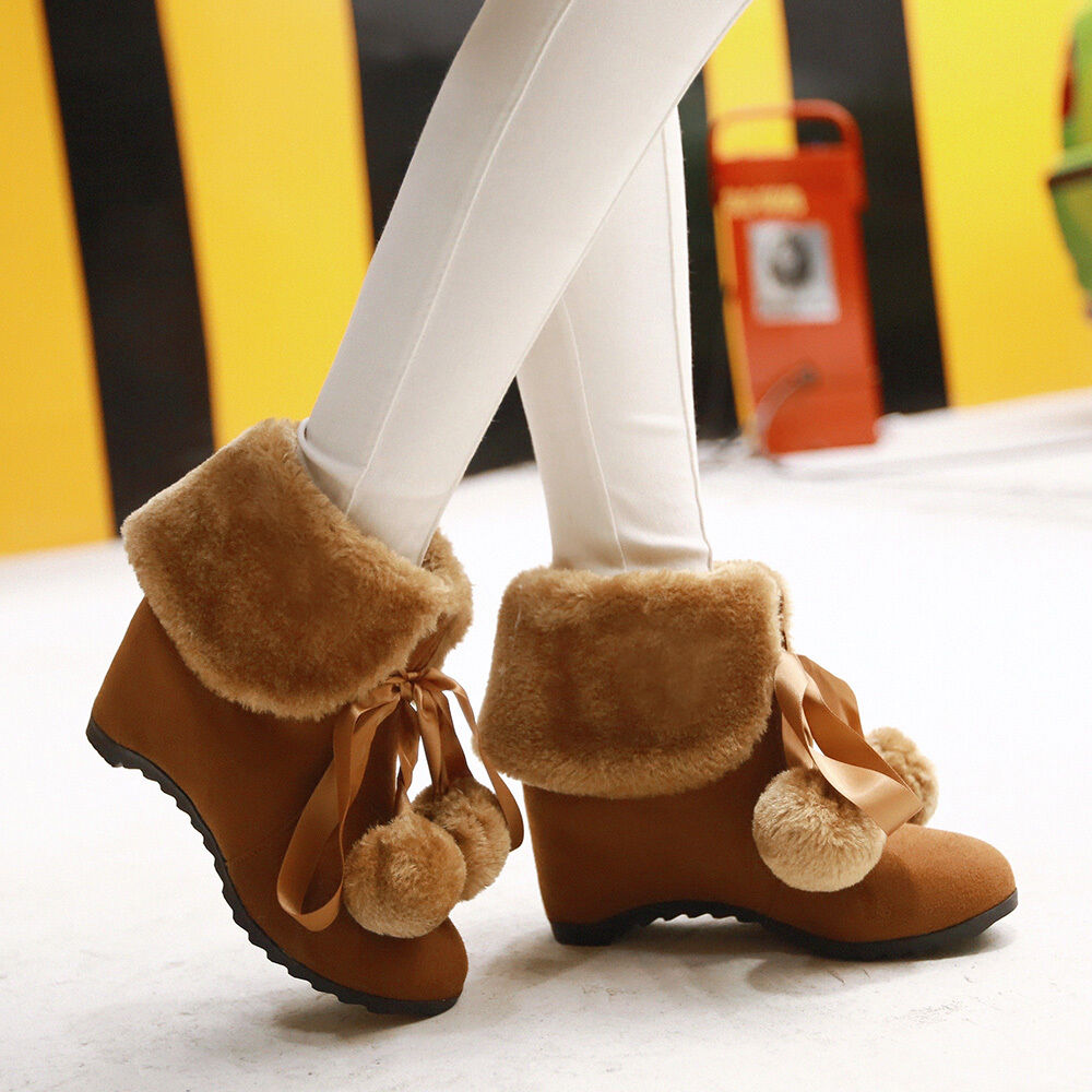 Sweet Womens Ball Decor Lace Up Ankle Boots Wedge Hidden Heel Furry Date shoes