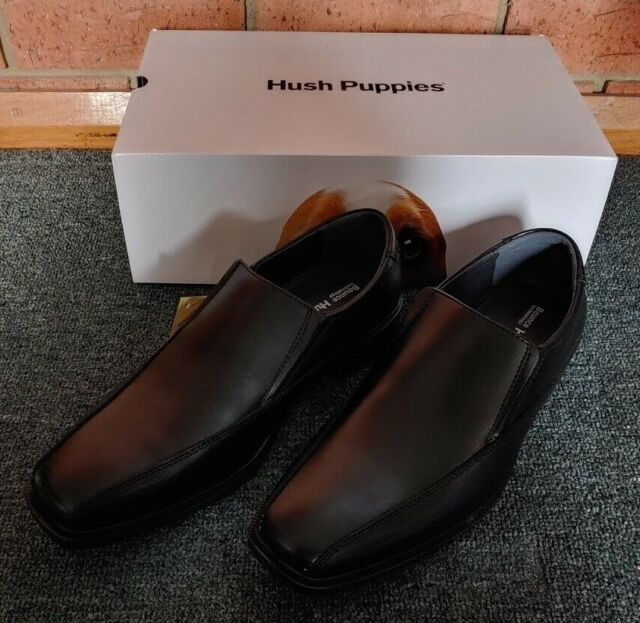 HUSH PUPPIES Mentor Mens Black Leather Dress Shoes Size 8 UK BRAND NEW