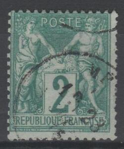 FRANCE-STAMP-TIMBRE-N-62-034-TYPE-SAGE-2-c-VERT-1876-034-OBLITERE-TB-N648