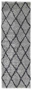 DAYTON-SILVER-GREY-DIAMOND-LATTICE-SHAGGY-FLOOR-RUG-RUNNER-80x200cm-NEW