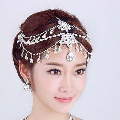 Bridal Rhinestone dangle faux pearl forehead Maang tikka Headpiece clip HR336