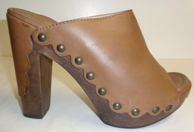 Stuart Weitzman Size 10 M SEQUOIA Brown Leather Heels Mules New Womens Shoes