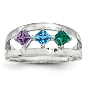 c5c379d1a7d6b Details about Birthstone Ring 1- 4 Square Stones Sterling Silver, Mother's  Day Jewelry Ring