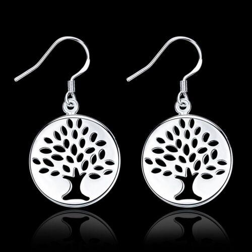 Fashion 925 Argent Plaqué Bijoux Tree Dangle Boucles d/'oreilles pour femmes E827