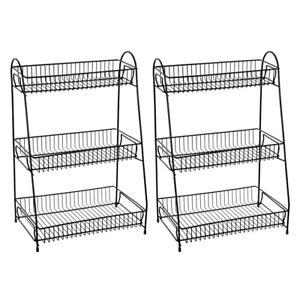 2x BoxSweden 3 Tier Metal Kitchen/Food Rack/Holder Organiser Storage Stand Black