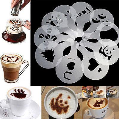 Creative 16pcs Coffee Stencils Template Strew Pad Duster Spray Novel New