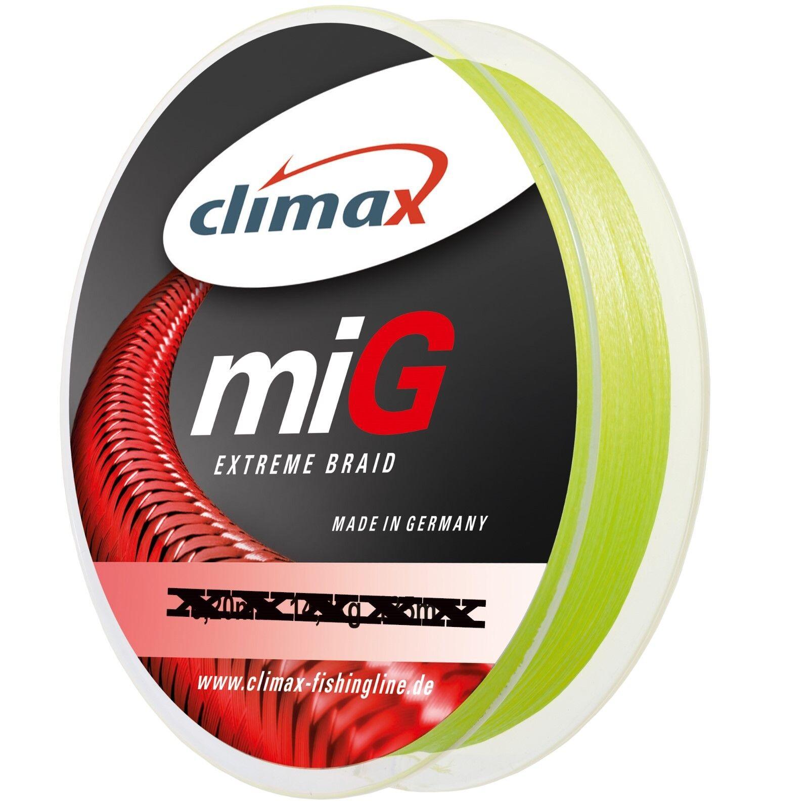 Climax miG Extreme Braid 1000m Spule - geflochtene Angelschnur - Farbe GELB