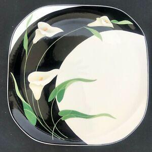 Sango-Black-Lilies-5101-Salad-Plates-Lot-of-3-Floral-Quadrille-Semi-Porcelain