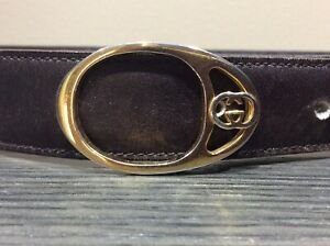 7dcc39c6ecb VINTAGE Genuine Brown LEATHER GOLD Tone GUCCI BELT GG BUCKLE ITALY ...