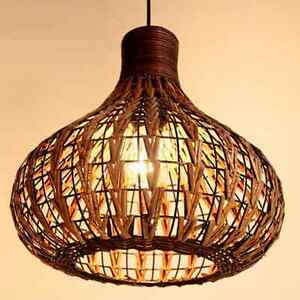 Bamboo Wicker Lamp Shades Weave Hanging Lighting Rattan Ceiling ...