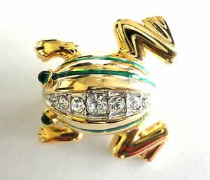 Frog-Brooch-Gold-Plated-Green-Enamel-Crystal-Pin-Fashion-Jewelry-Free-Shipping