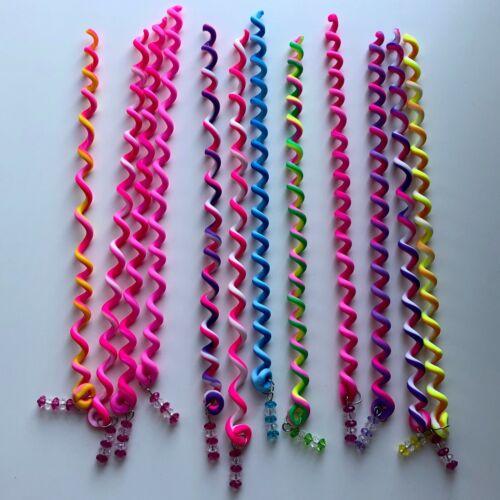 Cheveux Spirale Curly tresse Twister ensembles multicolore-Bandeaux Élastique 6pks