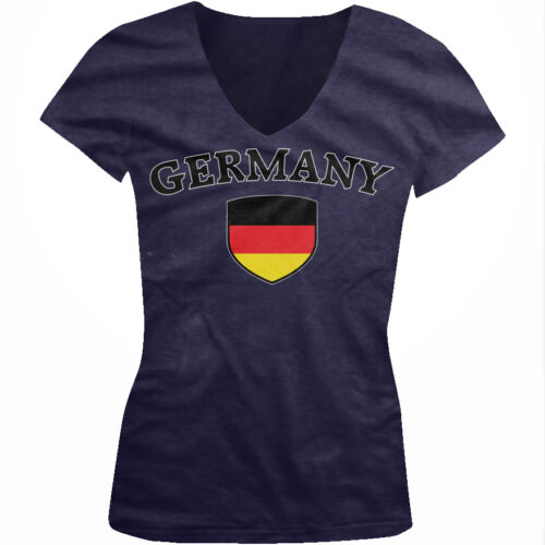 Germany Flag Crest Deutschland National Country Pride Juniors V-neck T-shirt